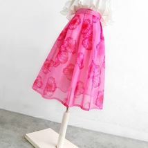 Summer Pink Floral Midi Party Skirt Outfit Organza Plus Size Midi Skirt Pockets image 2