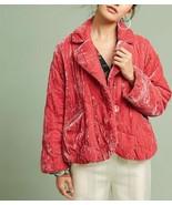 Anthropologie  Quilted Velvet Puffer Coat Jacket $218 Sz S - NWOT - $125.99