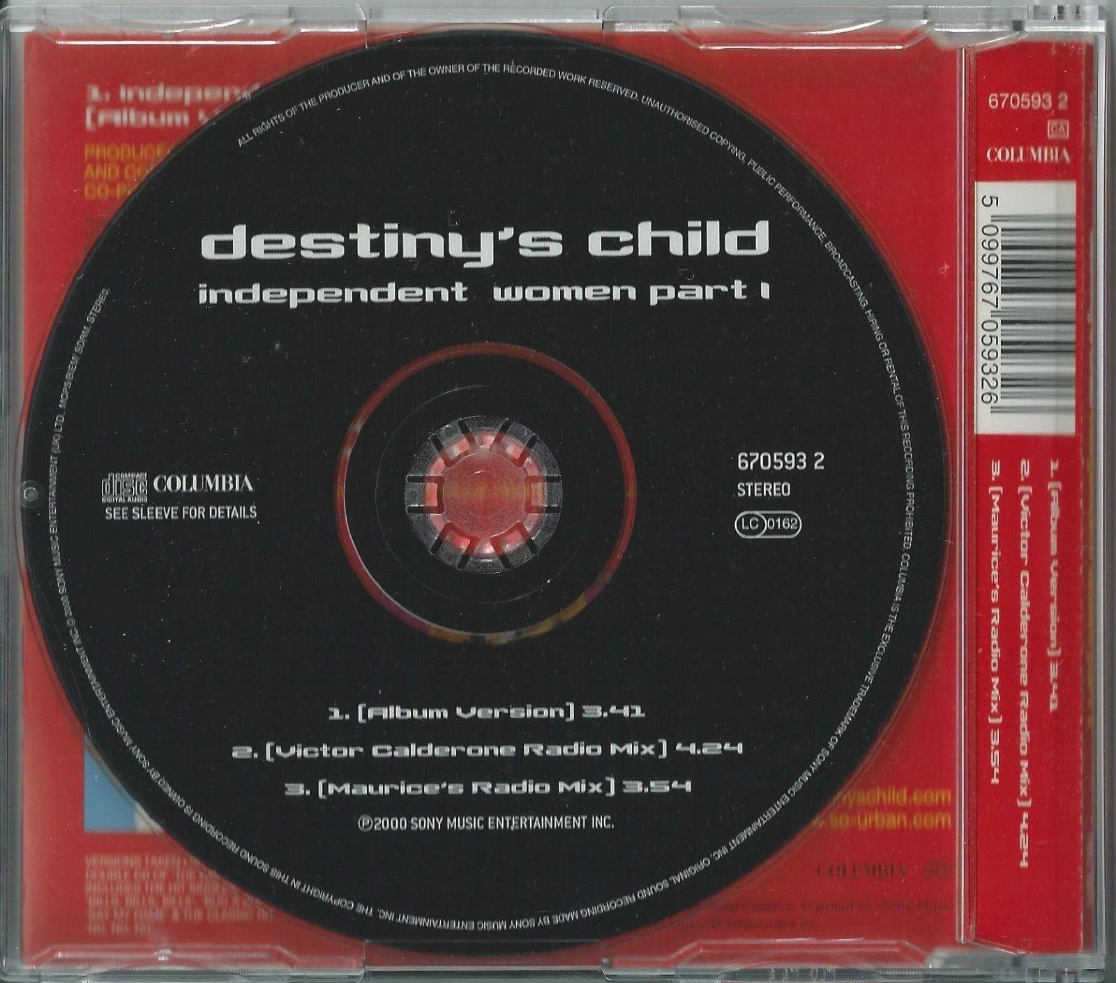 DESTINY'S CHILD - INDEPENDENT WOMEN PART I / (REMIXES) 2000 UK 3 TRACK CD PART 1