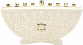 Lenox Judaic Blessing Menorah Chanukah Star Hebrew Jewish Candle Holder Gift NEW - $188.10