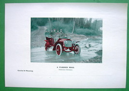 CAR Driving Through Flooded Road - 1907 Old Print - $4.73