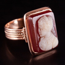 Vintage 1930's 14k Yellow & Rose Gold Rectangle Shell Cameo Solitaire Ri... - $550.00