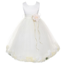 Ivory Satin Bodice Layers Tulle Skirt Ivory Flower Ribbon Brooch and Petals - $48.00