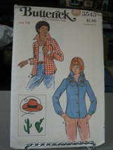 Butterick 3543 Western Shirt & Embroidery Transfer Pattern - Size 14 Bus... - $9.89