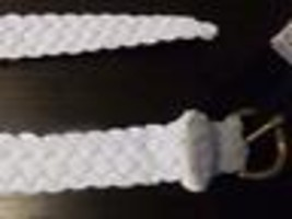 $38.00 Lauren Ralph Lauren Woven Stretch Belt, White, L image 2