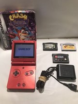 Gameboy Advance SP Red bundle w/games and charger Crash Bandicoot Purple - $70.11