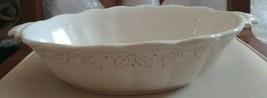 Longaberger Pottery Vintage Vine Ivory Oval Serving Bowl Dish - $45.00