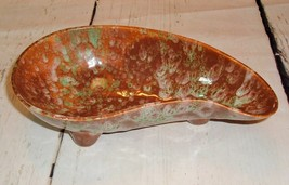 VTG Speckled Footed Kidney Shaped Dish Brown Green Mod Decor Unmarked - $19.75