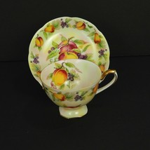 Lefton China Coffee Cup Saucer Fruit Pattern Hand Painted Gold Trim E272... - $54.45