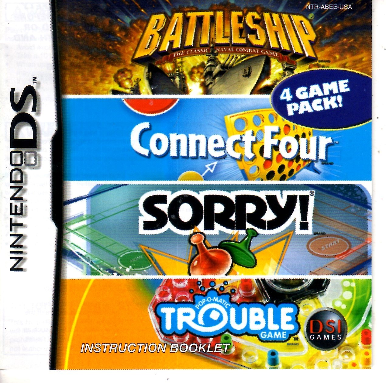 Nintendo DS - Battleship/Connect Four/Sorry!/Trouble Complete four games in one  image 3