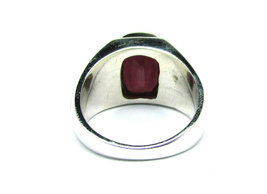 925 Sterling Silver Natural A+ Quality Garnet Gemstone Handmade Men's Ring image 3
