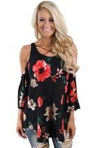 Black Floral Print Three Quarter Sleeve Drop Shoulder Blouse  - $19.26