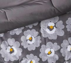 FULL Gray Daisies with White Sheets Printed MicrofiberBed Set W/Sheets 7 PIECES image 4