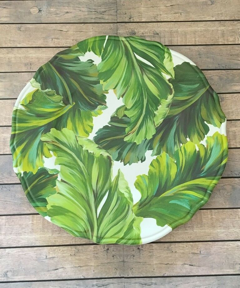 Heavyweight Melamine Plates Tropical Palm Leafs sets of 4 Dinner Salad Bowls