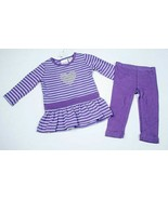 MINIWEAR NWT GIRLS INFANT 12M  2 PC PURPLE OUTFIT STRIPES SILVER SEQUIN ... - $12.86