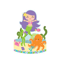 "Mermaid Friends 12"" x 9"" Honeycomb Centerpiece, Case of 6 - £31.18 GBP"