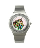 Unisex Day Of The Dead Horse Stainless Steel Watch - $18.99