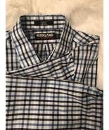 Blue Checkered Slim Fit Long Sleeve Button Down Shirt Kirkland Size 17-33 - $9.90