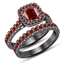 Red Garnet Bridal Set Solitaire Engagement Ring Wedding Band Black Gold ... - $104.99