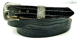 Black Hatband Genuine Lizard Skin With Silver Buckle Set Western Cowboy Hat Band - $14.49