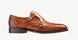 Handmade Men's Brown Leather Wing Tip Heart Medallion Double Monk Strap Shoes image 1