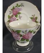 Queen Anne Purple Pink Flowers 8684 Tea Cup & Saucer Set English Bone Ch... - $34.95