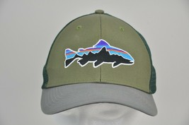PATAGONIA Fitz Roy TROUT Trucker Hat Style 38008 Green/Gray Mesh Snapback - $29.70