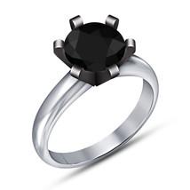 Round Cut Black Diamond Engagement Wedding Ring 14K White Gold Finish 925 Silver - $64.98