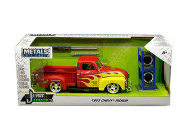 1953 Chevrolet Pickup Truck Red with Yellow Flames and Extra Wheels 1/24 Diecast - $44.95