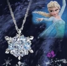 Frozen Elsa Necklace, Blue Crystal Snowflake, Flower, 2 Colors To Choose... - $1.99