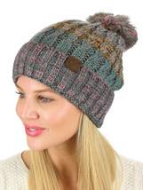 New! C.C Beanie Tribal Blend Pom Soft Fuzzy Lined Thick Knit Cuff CC Bea... - $14.39