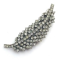 Vintage Schrager Rhinestone Brooch Feather Crystal Pin Sparkly Feather Leaf - $28.01