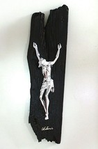 STYLIZED WALL CRUCIFIX, BLACK PAINTED WOOD BEAM, CHRIST, 16.5 INCHES ITALY MADE image 1
