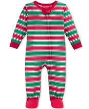 Family Pajamas Red & Green Striped Zip Footed Pajama Toddler, 2T-3T - $10.88