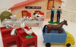 Stellar Toy Farm Set Vintage Animals Fence Gate Truck Farmers Sheep Hors... - $19.79