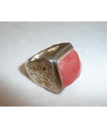 Large Pink Cushion cut Statement Ring Made in Israel Size 5.5 - $40.45