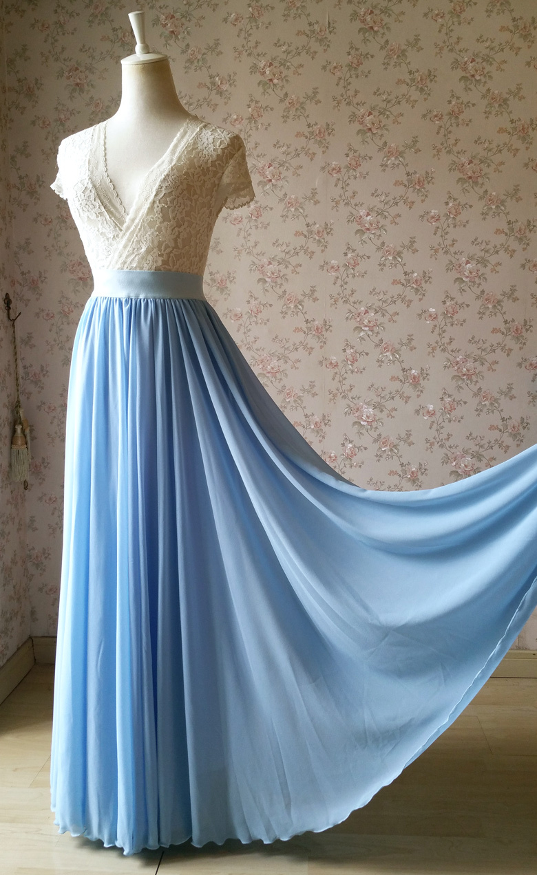 Blue Wedding Chiffon Skirt Flowy Blue Bridesmaid Chiffon Skirts Plus Size