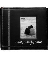 Photo Pioneer Sewn Leather Album 4x6 Cover Frame Holds 200 Photos Modern... - $13.37