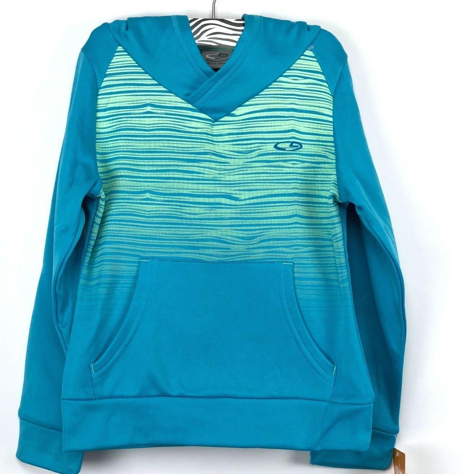 Champion Duo Dry Girls Hoodie Blue Green Pullover Sweatshirt Size XS 4 - 5 - $13.97
