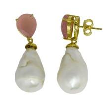 Pink Onyx Pearl 925 Sterling Silver Dangle/Drop Earring - $40.16