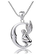 Sterling Silver Fairy with Angel Wings Face to Moon Pendant Necklace, 18'' - $58.90