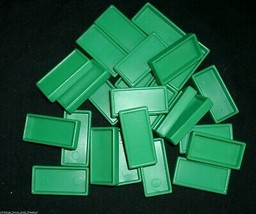 25 VINTAGE PRESSMAN DOMINO RALLY DOMINOES GREEN REFILL PIECES FOR SET PA... - $4.75