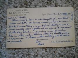 old vintage antique postcard 1943 J.L. Libbey & Son Cut Soles & Leather ... - $9.99