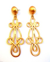 BIG Vintage 80s 90s ANNE KLEIN Goldtone Looping Design Dangle Pierced E... - $75.96