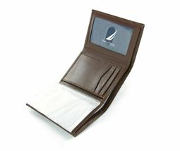 New Nautica Men's Premium Leather Credit Card Id Wallet Trifold Brown 31NU11X017 image 4