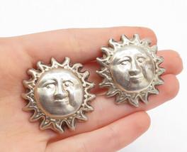 MEXICO 925 Sterling Silver - Vintage Sun Face Non Pierce Clip On Earrings- E8579 - $65.37