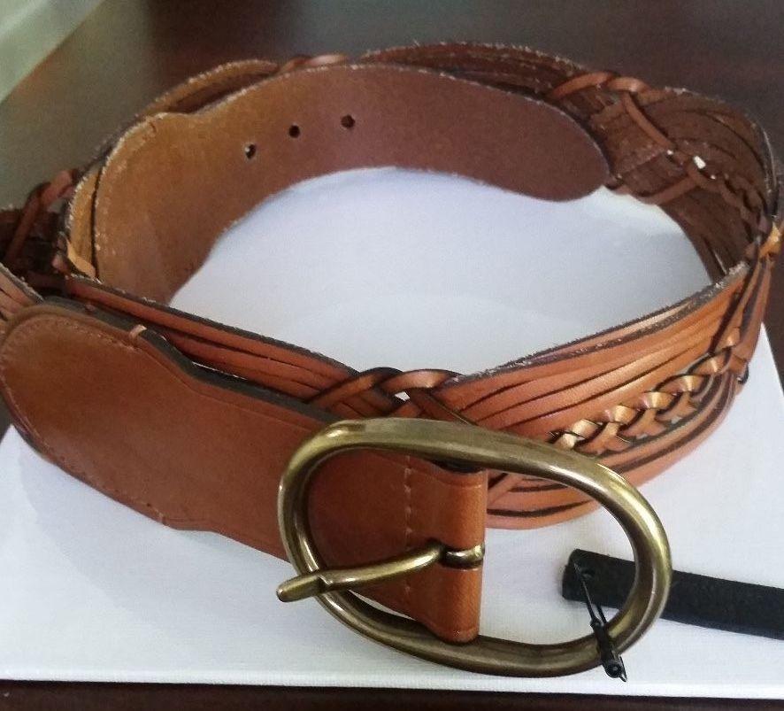 Lauren Ralph Lauren Tan Braide Wide Woven Leather  Belt New $68