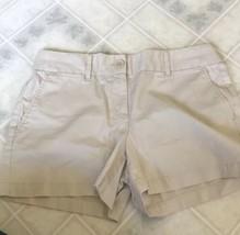 "Ann Taylor LOFT Sz 2 Tan Flat Front Shorts 3 3/4"" Inseam 100% Cotton - $13.99"