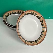 "Set of 4 David Carter Brown Sakura LOG CABIN Moose Bear 7.5"" Soup Cereal... - $39.59"