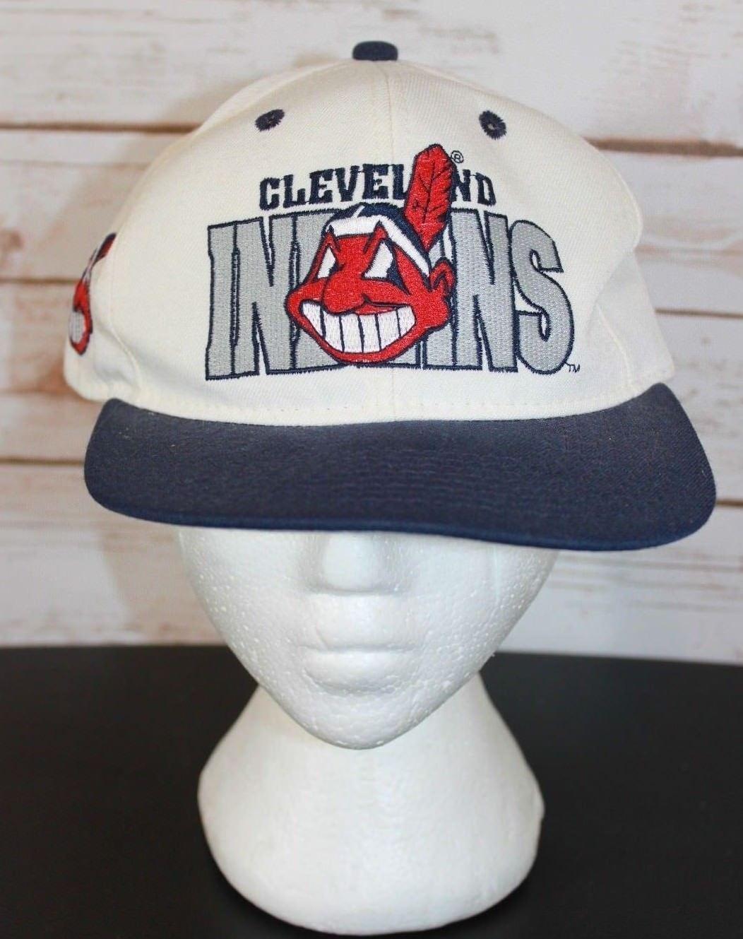 5ceae599a89 57. 57. Previous. Vintage Cleveland Indians Chief Wahoo Snapback Hat Cap  New Era ...